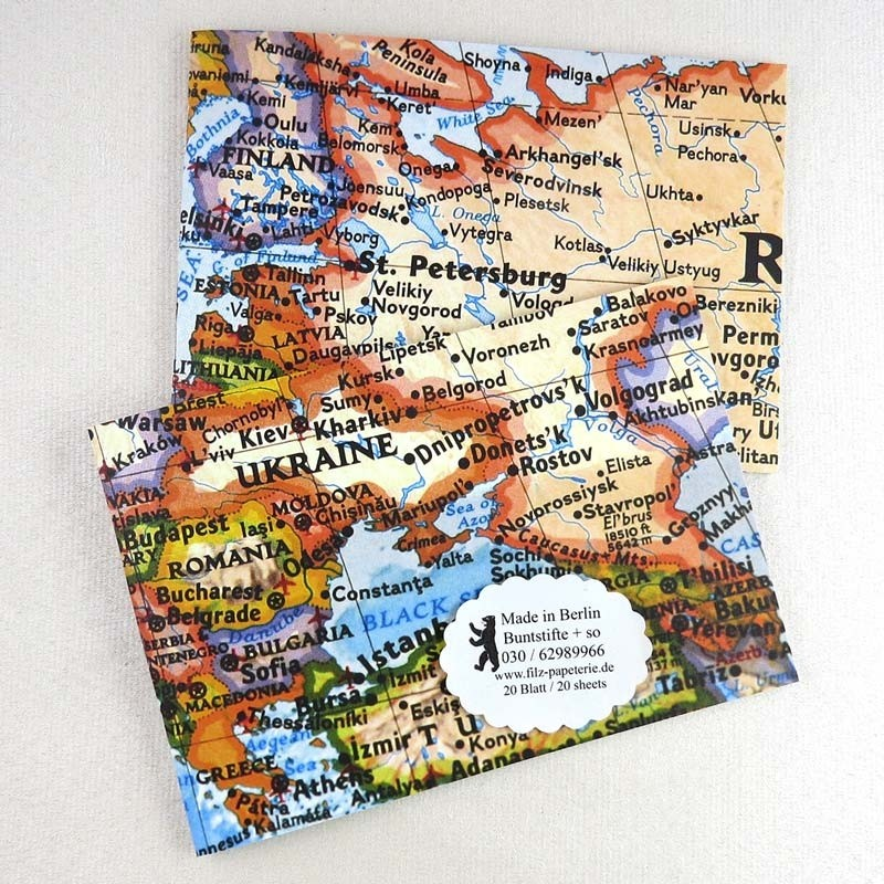 A6 Notiz-Heft quer Europa-Karte in zwei Varianten