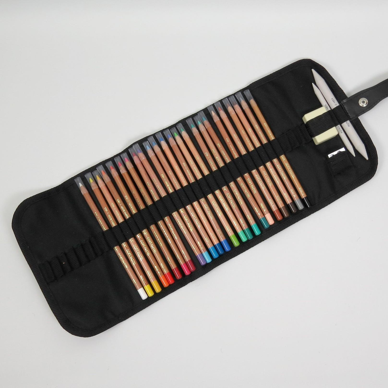 Stifterolle befüllt mit 24 Gioconda Soft Pastellkreide Stiften von Koh-I-Noor