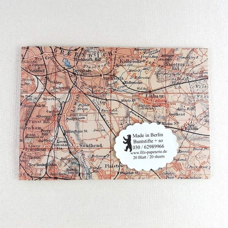 A6 Notiz-Heft Stadtplan London in zwei Varianten