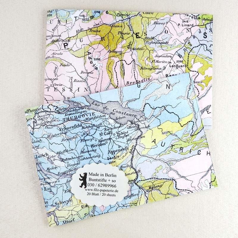 A6 Notiz-Heft quer Schweiz-Österreich-Landkarte in 2 Varianten
