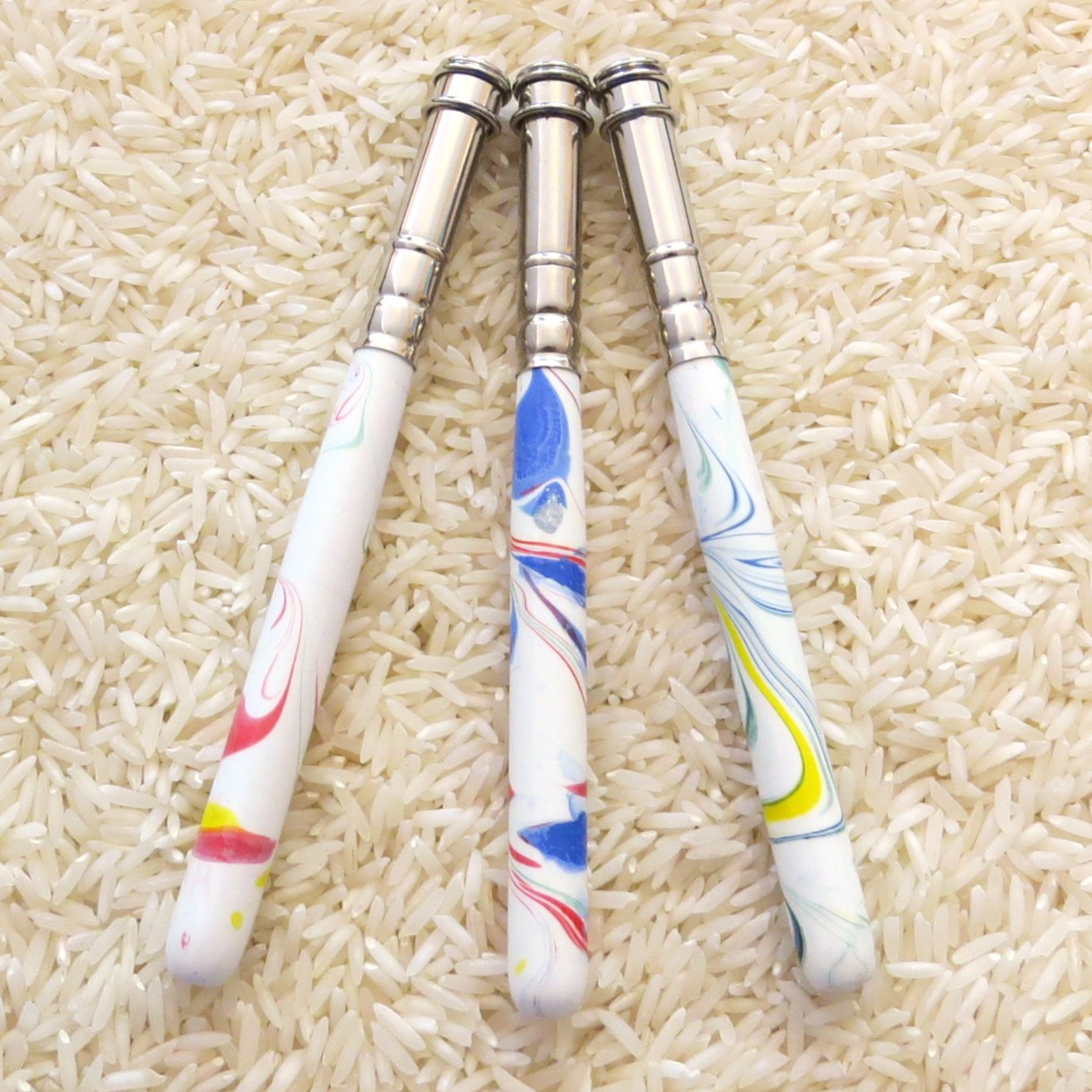 Stiftverlängerer weiß - bunt marmoriert - Buntstift + so