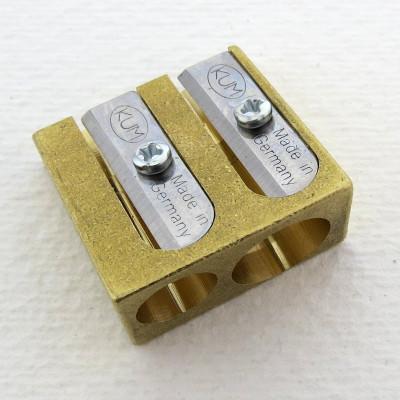 Messing Doppel-Anspitzer für Bleistifte und Buntstifte