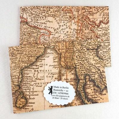 A6 Notiz-Heft quer Asien Landkarte in 2 Varianten