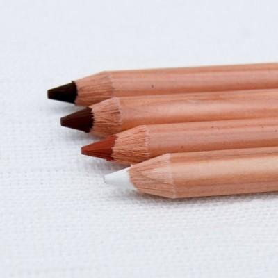 Gioconda Kreide-Stift weiß - sepia - hell braun - dunkel braun